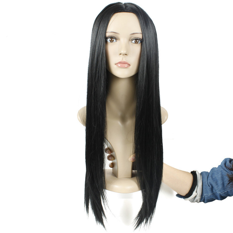 Black Wig Long Straight Wig Synthetic Middle Part Wigs for Black Women fb7847b769