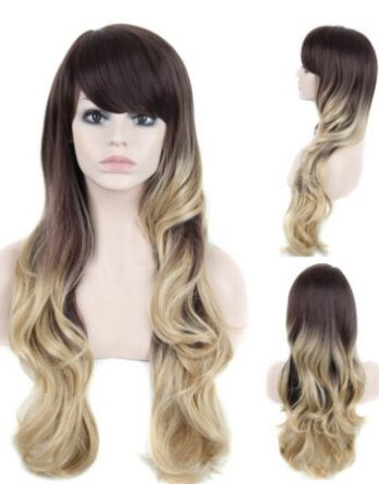 Long Wavy Wig Synthetic Blonde Ombre Wigs Women Cosplay Wigs With Side Bangs
