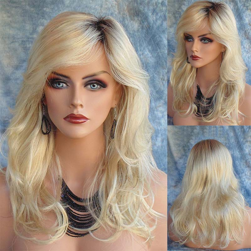 Blonde Wig Synthetic Long Blonde Wavy Wigs For Black White Women 8d365bbf00b0