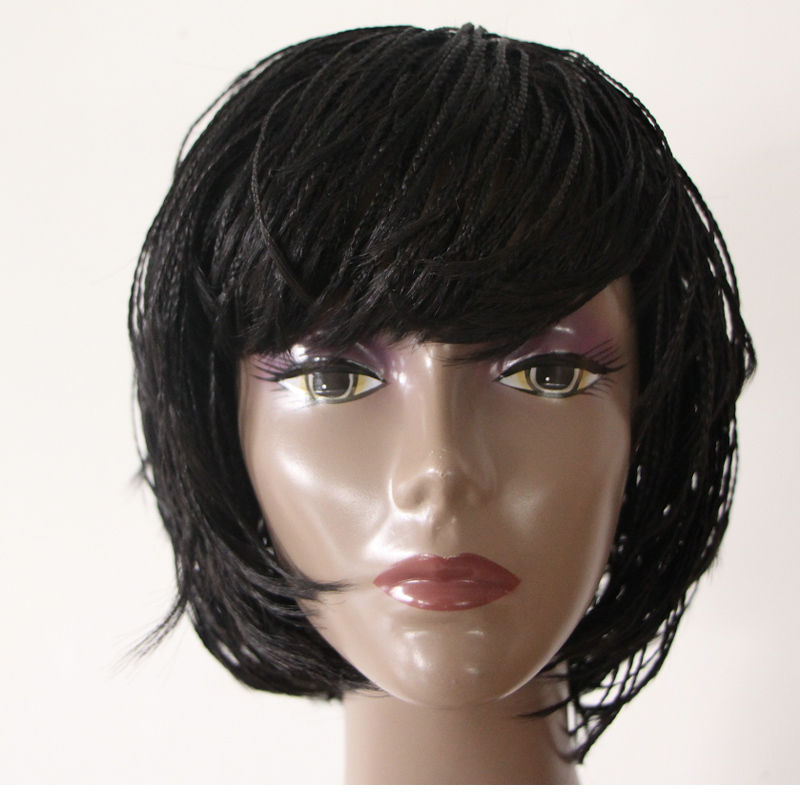 short synthetic braid wigs for black women