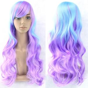 Women Cosplay Wig Long Colorful Wigs Synthetic Curly Wavy Straight Wig Party Wig