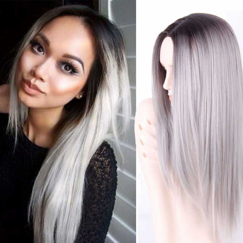 Ombre Wig Synthetic Long Straight Ombre Grey Wigs For Black Women