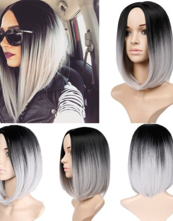 Bob Wig Ombre Grey Bob Style Wigs Synthetic Bob Wigs for Black Women