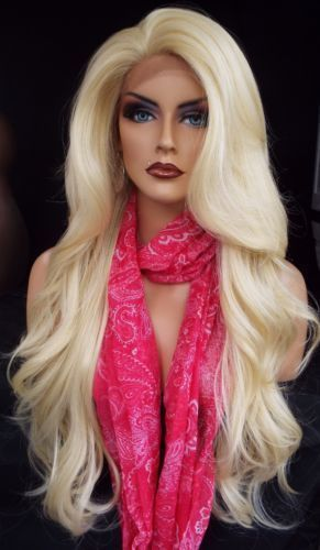 Synthetic Lace Front Blonde Wig Long Light Blonde Wavy Wigs for Women