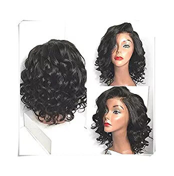 Lace Front Wig Curly Synthetic Wet And Wavy Short Bob Wigs For Black Women
