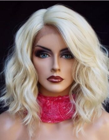 Blonde Bob Wig Lace Front Wigs Synthetic Wavy Bob Wigs for Women