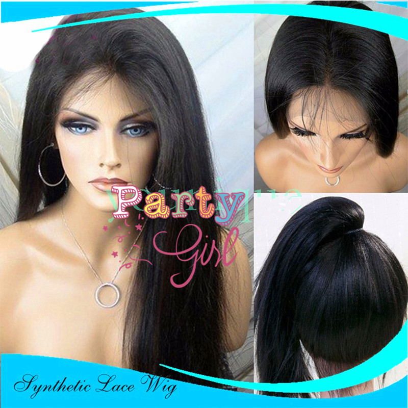 Kinky Straight Wig Synthetic Lace Front Yaki Straight Wigs for Black Women