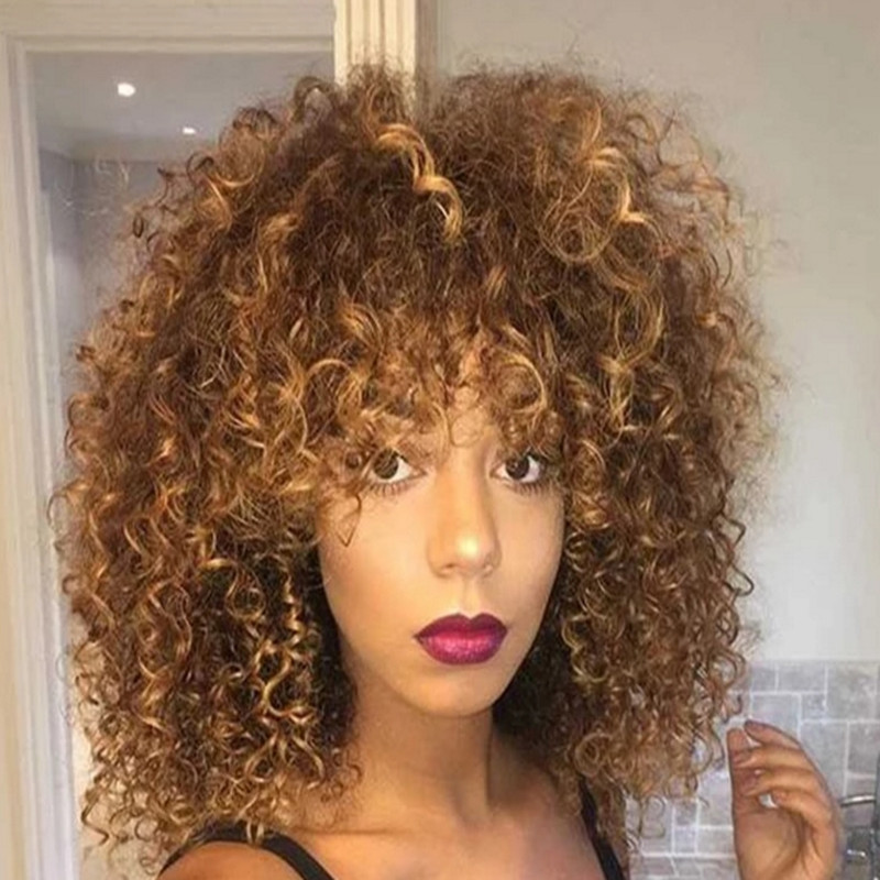 Afro Kinky Curly Wig for Black Women Synthetic Blonde Mixed Brown Wigs 5339dbfb5