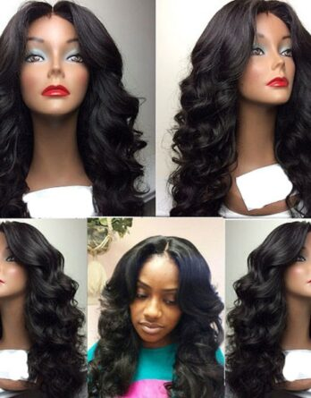 Lace Front Body Wave Wig Synthetic Middle Part Wigs For Black Women