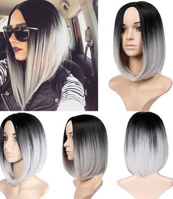 ombre grey bob wig