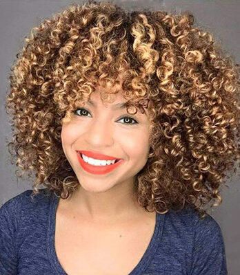 brown afro curly wig